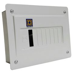 Centro de carga monofasico qod color blanco 8 circuitos montaje para empotrar 2f 3h con neutro solido y tierra
