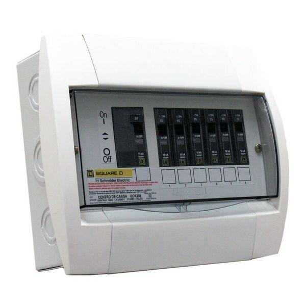 Centro de carga monofasico qox 6 a 8 circuitos barras de 100a 1f 3h con neutro solido y barra de tierra
