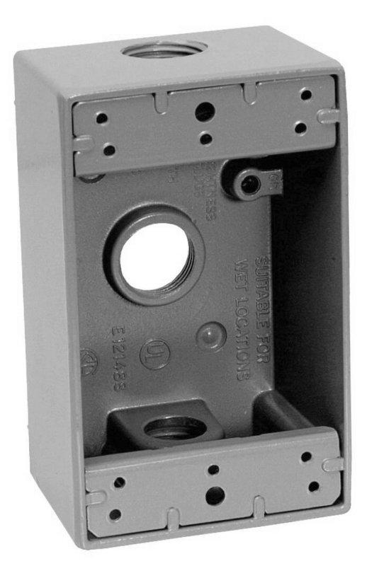 Caja Rectangular 3 Entradas De Aluminio Para Uso